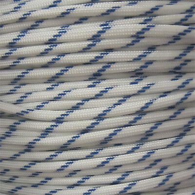 Racing 100 ft 550 Paracord 7 Strand Parachute White with Royal Blue Stripe
