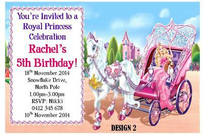 20 X BARBIE CHILDRENS GIRLS BIRTHDAY PARTY PERSONALISED INVITATIONS MAGNETS