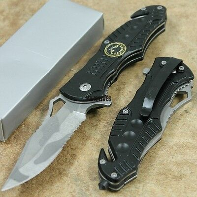 "8"" Black MARINES Tactical Assisted Open Rescue Pocket Knife NEW PK-826MR zix"