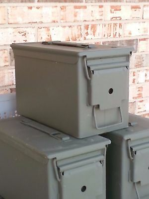 2 (two) GENUINE Military Surplus 50 CAL M2A1 Ammo Cans Boxes -Very Good Shape!