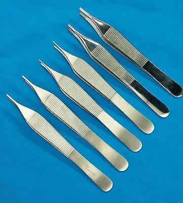 "Set Of 6 Assorted Adson Tissue Brown Dressing Forceps 4.75"" Surgical Instruments"