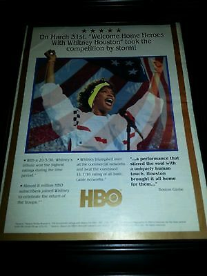 Whitney Houston Rare HBO Gulf War Welcome Home Promo Poster Ad Framed!