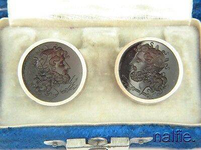 QUALITY ANTIQUE 10K GOLD AGATE  ZEUS / JUPITER INTAGLIO CUFF LINKS c1880
