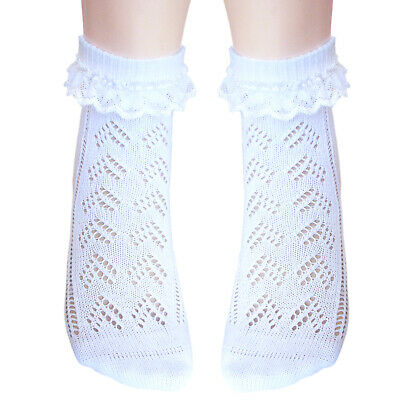 2 pairs girls seamless toe Pelerine Pointelle ankle socks with white heart lace