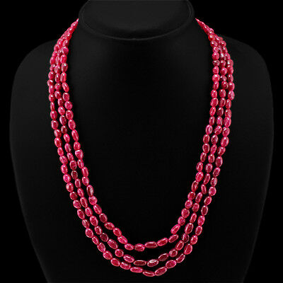 BREATHTAKING QUALITY 257.00 CTS EARTH MINED 3 LINE RED RUBY OVAL BEADS NECKLACE