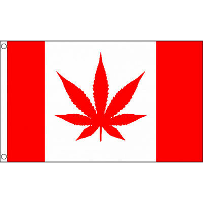 Canada With Marijuana Flag 5Ft X 3Ft Canadian Weed Banner With 2 Eyelets New