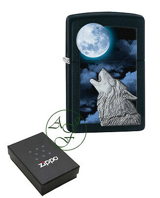 Personalised Zippo Lighter Black Matte Howling Wolf Engraved Free 28879