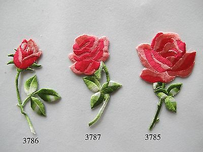 Pink,Red Rose Flower Embroidery Iron On Applique Patch