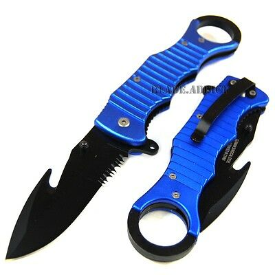 "8.5"" Blue Tactical Spring Assisted Open Pocket Knife w/ Gut Hook PA0263BL-T"