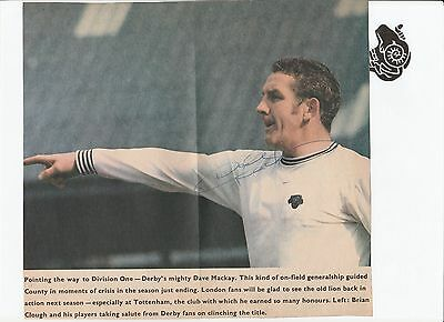 Dave Mackay Derby County 1968-71 Mgr 1973-76 Rare Orig Signed Newspaper Cutting