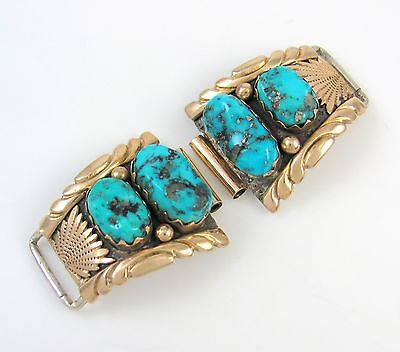 Zuni 14k Gold Sterling Silver & Turquoise Watch Bands Tips VIRGINIA QUAM │RS BXX