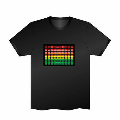 Sound Activated EL LED T-Shirt Tee Tshirt Equalier Music Flashing Dancer Party