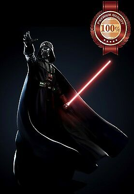 New Darth Vader Standing With Light Saber  Movie Wall Art Print - Premium Poster