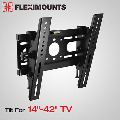 "Slim LED LCD Tilt TV Wall Mount Bracket 14 17 19 20 24 26 27 32 37 40 42"" Inch"