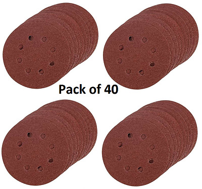 40 x hook and loop abrasive sanding discs pads 115,125,150 225mm 8 hole