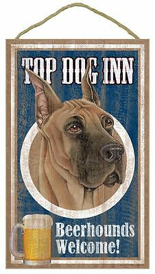 "Top Dog Inn Beerhounds Great Dane Bar Sign Plaque dog 10""x16""  Beer"