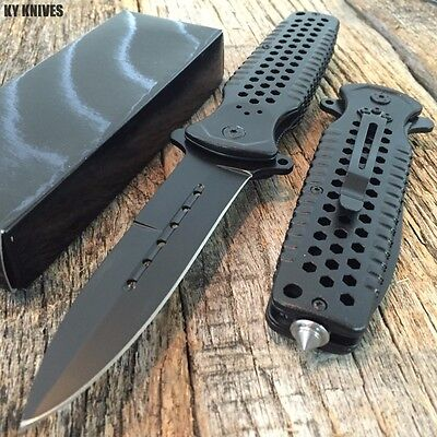 LARGE Black Spring Assisted Open Stiletto BOWIE Tactical Rescue Pocket Knife