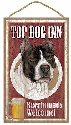 "Top Dog Inn Beerhounds Pit Bull black white Bar Sign Plaque dog 10""x16""  Beer"