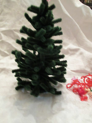 """Handcrafted Dollhouse Miniature Christmas Tree. Pipecleaners. 6"""". Ornaments"""