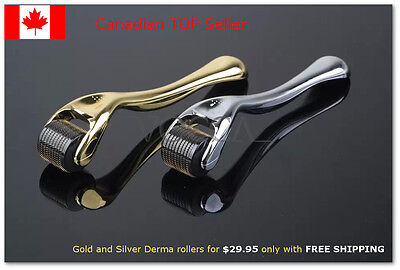 Deluxe Derma Roller - Gold or Silver - 540 Titanium Needles. CANADIAN COMPANY!