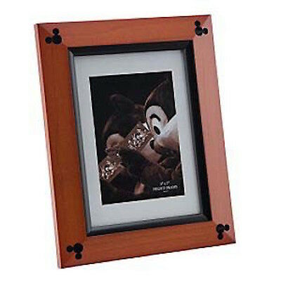 """disney parks 7""""x7"""" cherry wood with black accent picture frame new with box"""