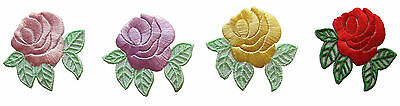 #3598 Lot 2Pcs Rose Flower Embroidery Iron On Applique Patch