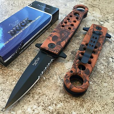 DUCK BRAND Orange Camo Tactical Assisted Open Pocket Knife NEW 0027-OR