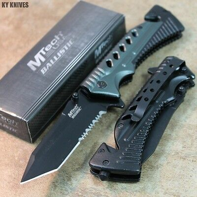 """8"""" MTech Assisted Open RESCUE Pocket Knife - Black/Gray MT-A801GY zix"""