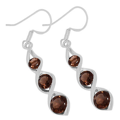 Smoky Quartz 925 Sterling Silver Earrings Jewelry E2185S