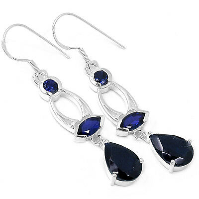 Iolite 925 Sterling Silver Earrings Jewelry E2188I