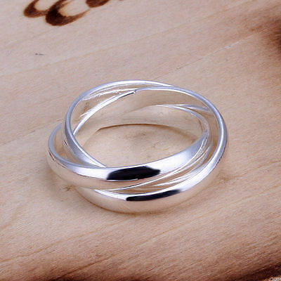 UK New Silver Plated Triple Interwoven Russian Band Infinity Ring Three 096