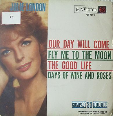 """Julie London Our Day Will Come  7"""" EP 4 tracks PROMO 1960 PS  Brazil"""