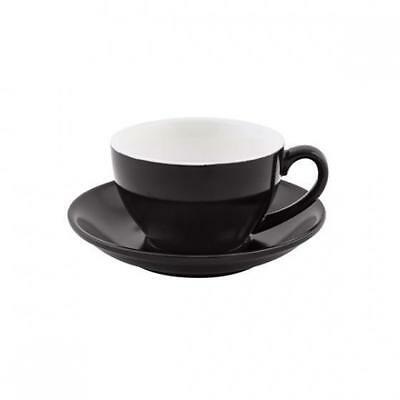 6x Cappuccino Cup & Saucer Set Black 200mL Bevande Tea Coffee Hot Chocolate Cups