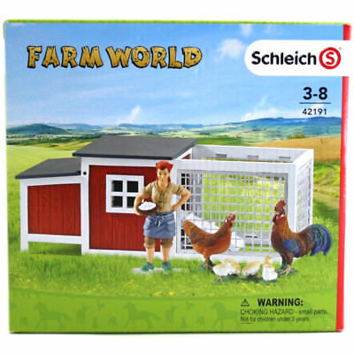 Schleich Farm Life Toy Chicken Coop For Animal Figures NEW