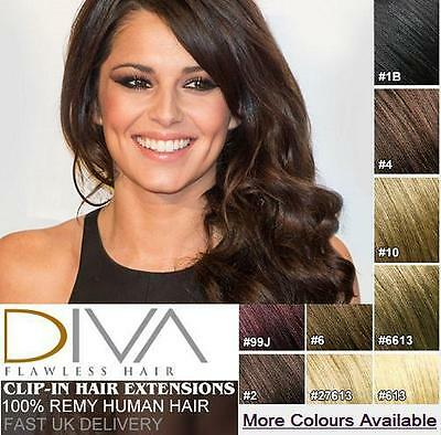 Thick Deluxe & Standard Clip In Remy 100% Human Hair Extensions Full Head UK