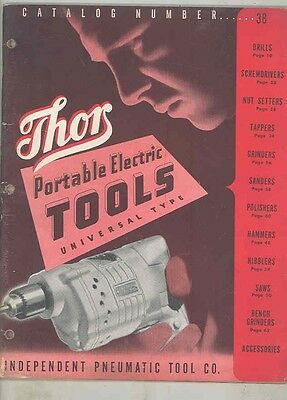 1944 Thor Portable Electric Tool Brochure Drill Sand Grinder Nibbler Saw wv0342