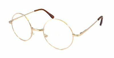 JOHN LENNON costume Round Retro Large Metal Frame Clear Lens Eye Glasses NEW!