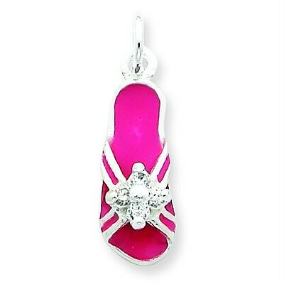 .925 Sterling Silver Clear CZ & Pink Enameled Day at The Beach Flip Flop Charm