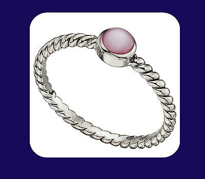 Sterling Silver Twisted Ring With Pink Mother of Pearl