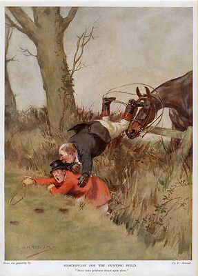 """FOX HUNTING FOXHUNTER by G D Armour Comic Antique Art Print 1928 """"Shakespeare"""""""