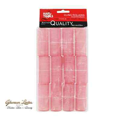 Professional Cling Hair Rollers Pink 12 x 25mm Medium, Hair tools Cling Rollers