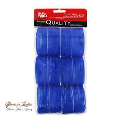 Professional Cling Hair Rollers Blue 6 x 76mm Super Jumbo, Hair tools