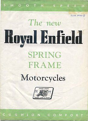 Royal Enfield Spring Frame Models 350 Bullet & 500 Twin Original Brochure 1948