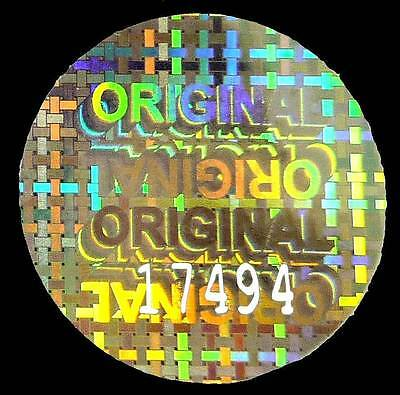 "LARGE ""ORIGINAL"" Hologram Stickers, NUMBERED 30mm ROUND Warranty Security Labels"