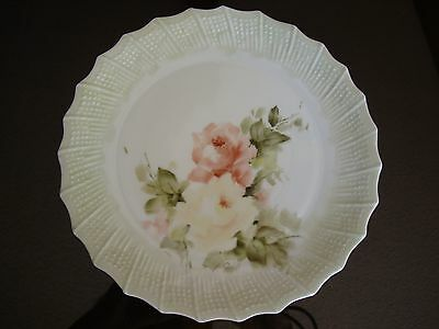 """LIMOGES CHASTAGNER HAND PAINTED SIGNED PLATE, ROSES, 8 1/2"""""""