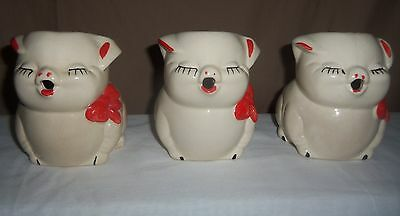 American Bisque Pottery Pig Creamers (3) from 1950's/60's