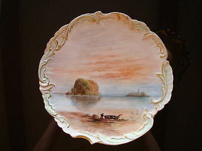 """ANTIQUE HAND PAINTED LIMOGES D&Co SCENIC PLATE, SUNSET BOAT, 9"""""""