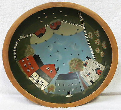 Wooden Bowl Vintage * Beautiful Country Painting * Super Nice Collectible *