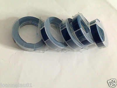 5 rolls x Dymo 3D embossing tape labels 9mm x 3m in BLUE  FREE POSTAGE