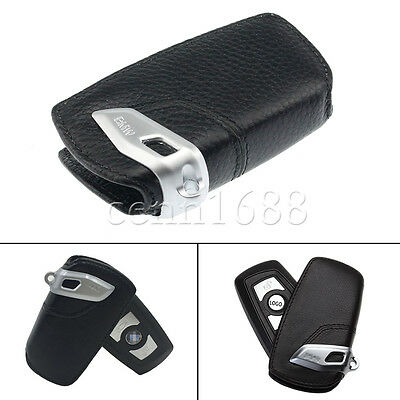 BMW Genuine Protective Leather Lettering Key Case Black